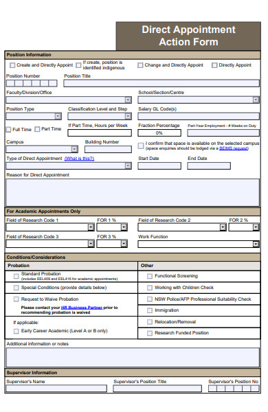 direct appointment action form