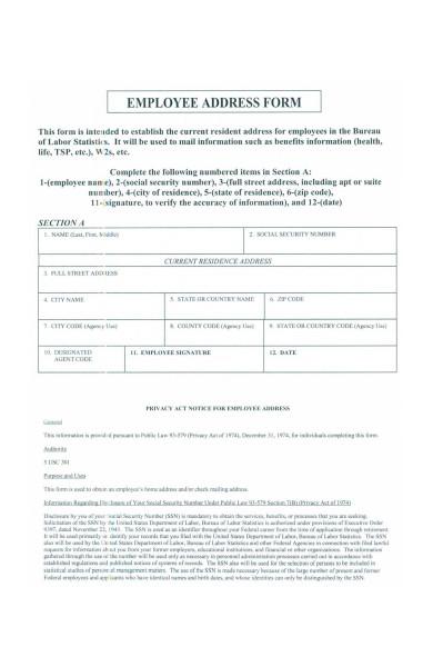 employee address form
