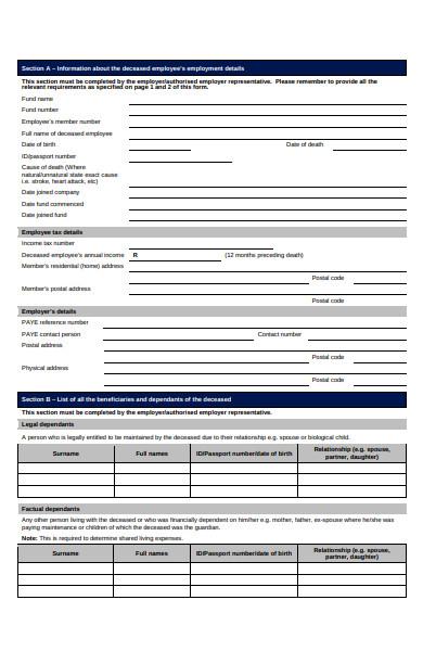 employee death claim form