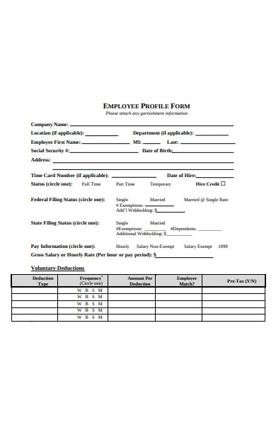 employee profile form