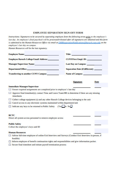 employee separation sign off form