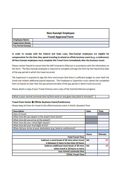 employee travel approval form