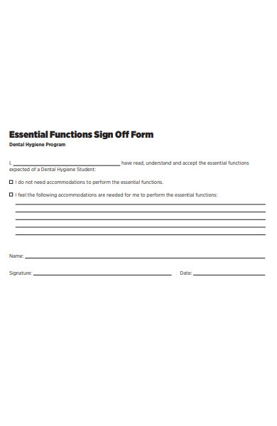 essential functions sign off form