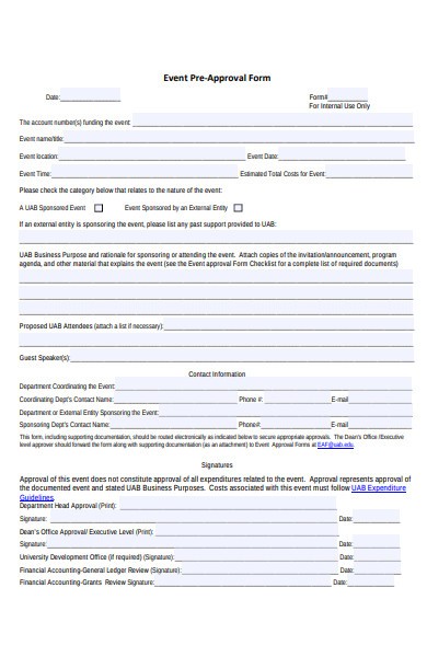 event pre approval form