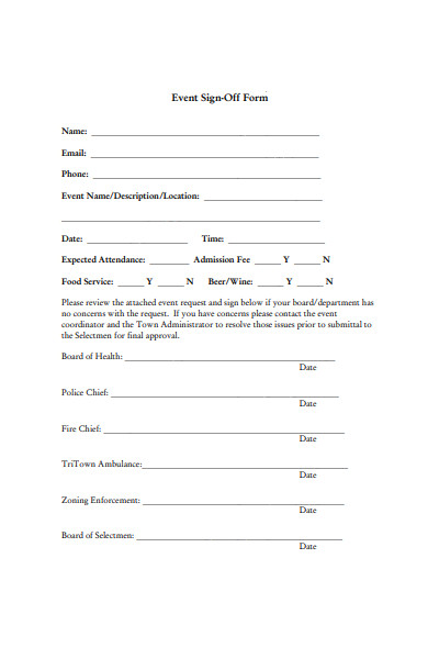 event sign off form