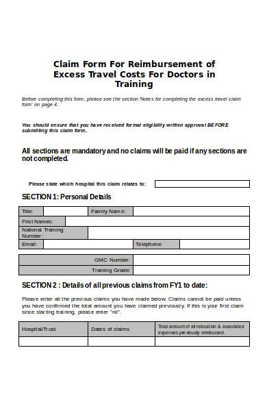 excess travel claim form