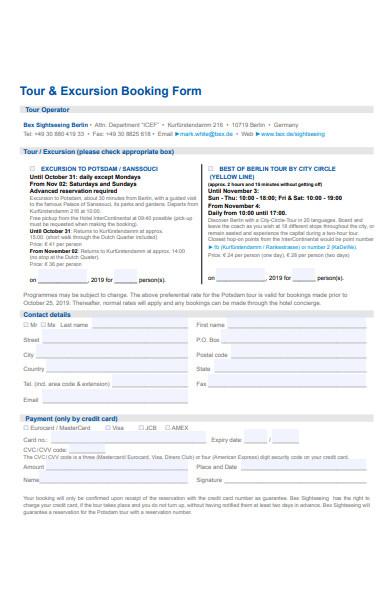 excursion booking form