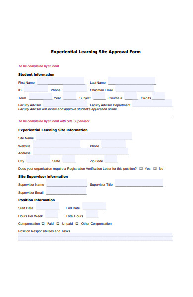 experiential site approval form
