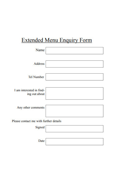 extended menu enquiry form