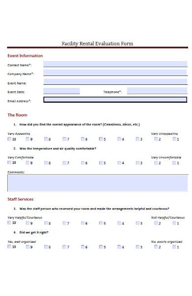 facility rental feedback form