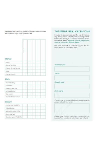 festive menu order form