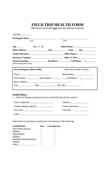field trip health form