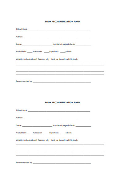 formal book recommendation form