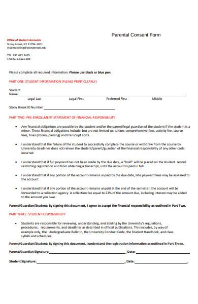 formal parental consent form