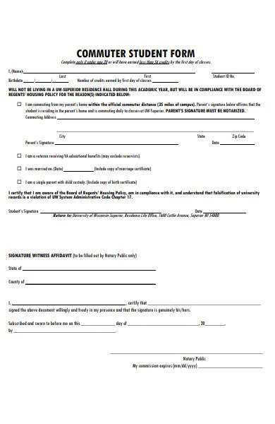 formal student form