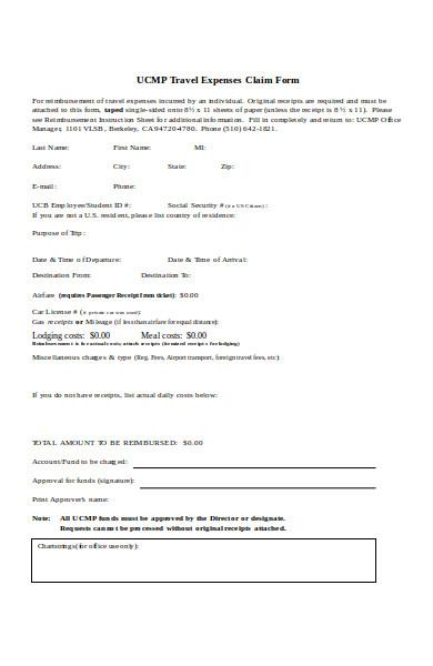 formal travel expense form