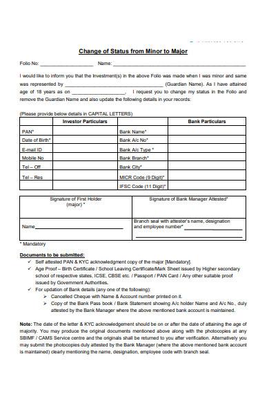 general change of status form
