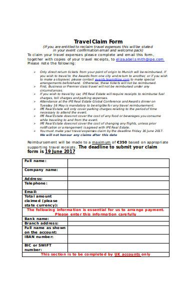 general travel claim form
