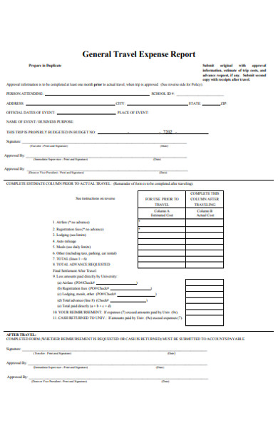 general travel expense report form