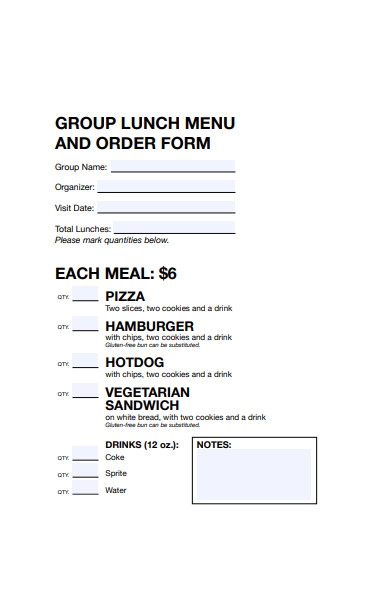 group lunch menu form