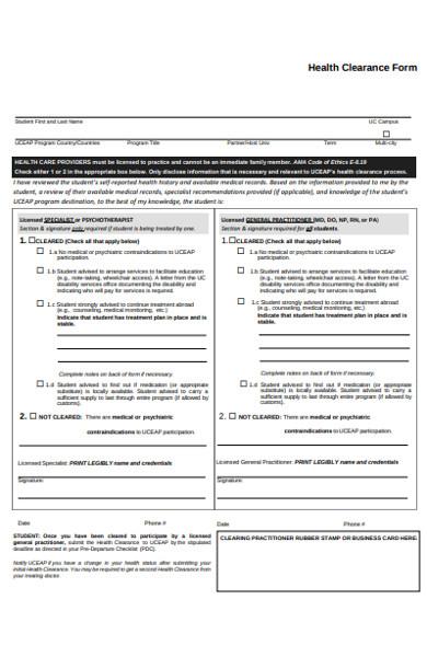 health clearance form