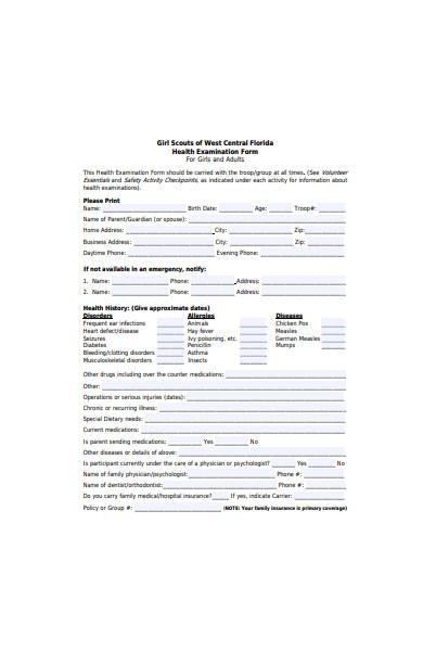 health examination form
