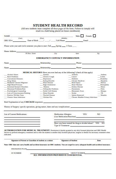health record form