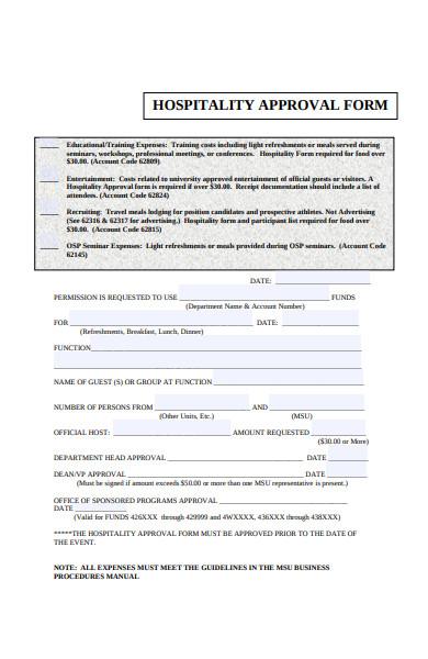 hospitality approval form