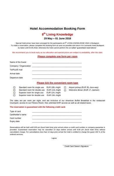 hotel accommodation booking form