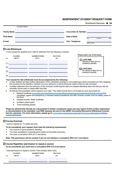 independent student request form
