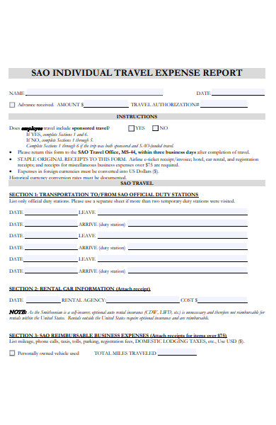 individual travel expense form