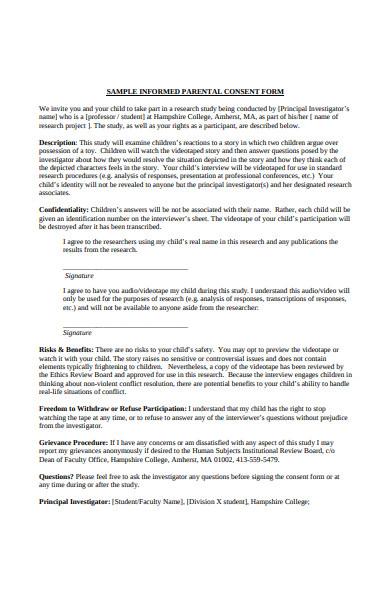 informed parental consent form