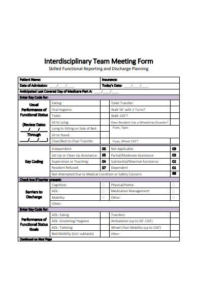 interdisciplinary team meeting form