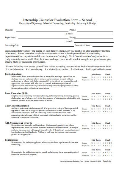 internship counselor evaluation form
