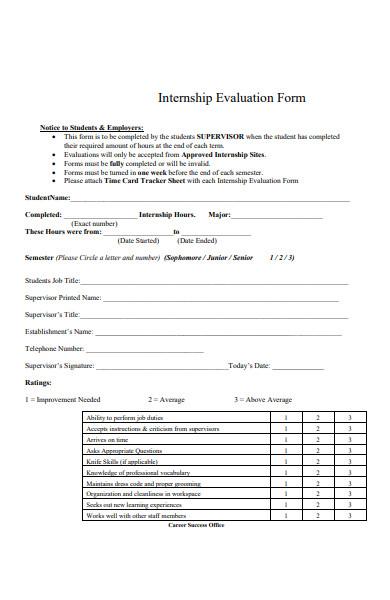 internship employer evaluation form