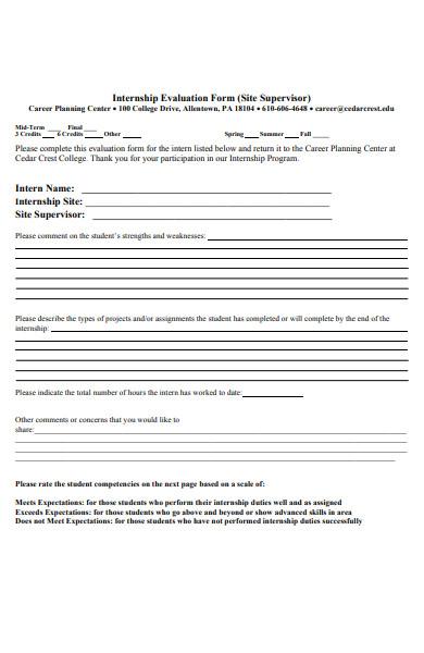 internship planning evaluation form