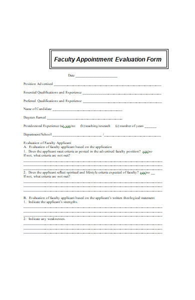 interview appointment evaluation form
