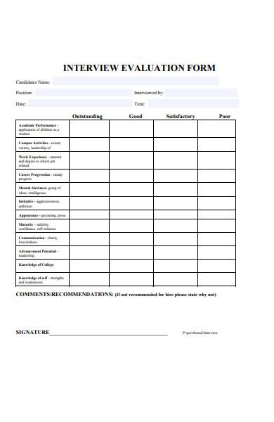 interview comment evaluation form
