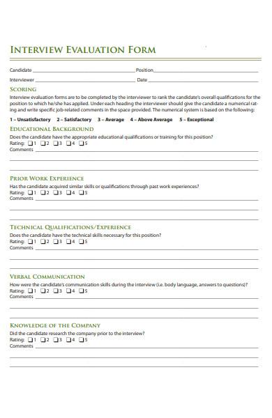interview work evaluation form