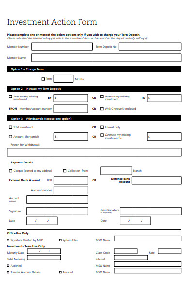 investment action form