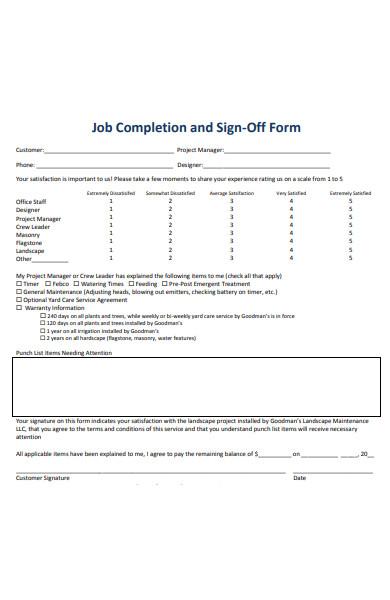 job sign off form