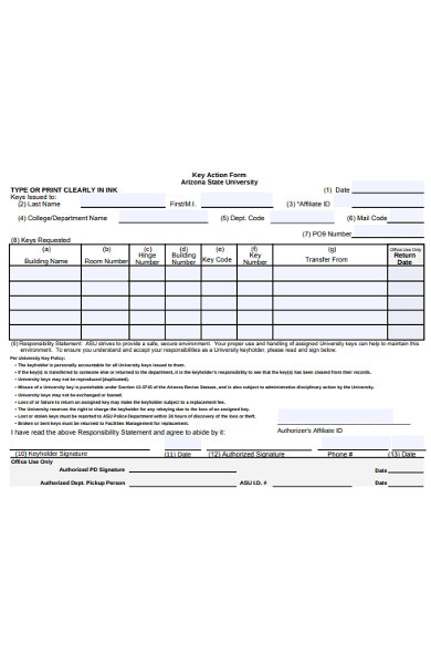 key action form