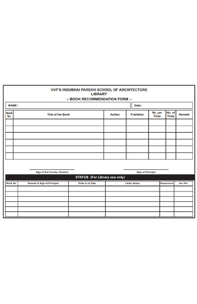 library book recommendation form