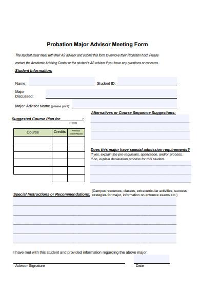 major advisor meeting form