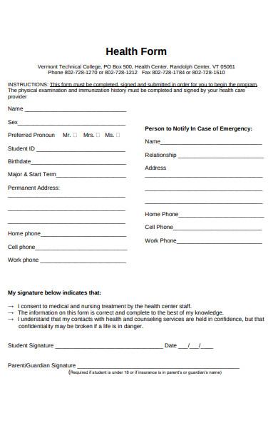 mandatory health form
