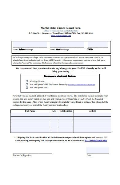 marriage change of status form