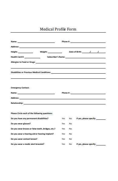medical profile form