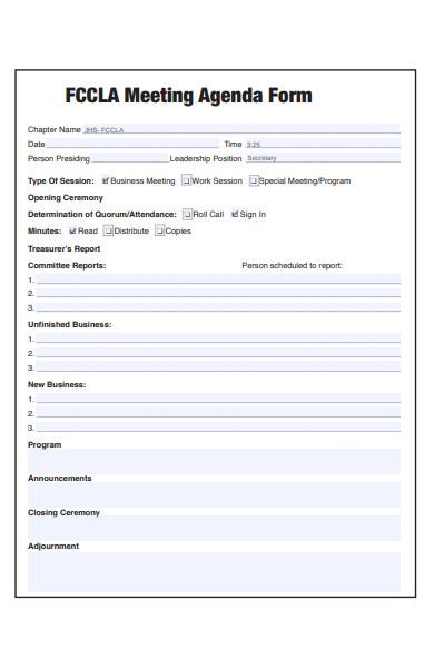 meeting agenda form
