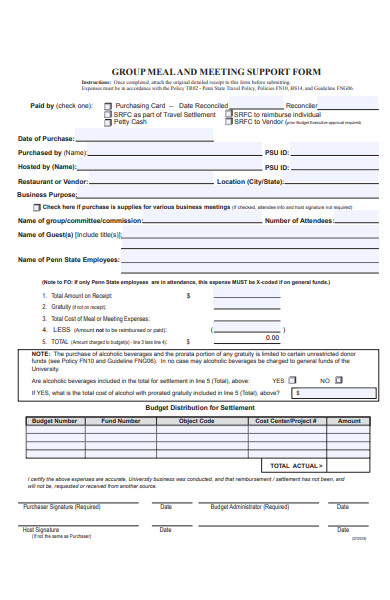meeting support form