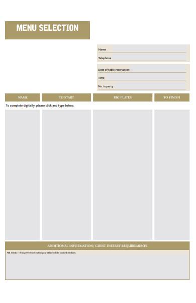 menu selection form